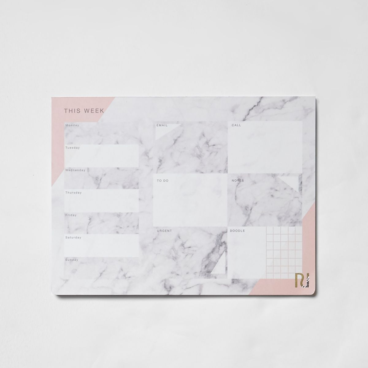 Grey marble print A4 desk planner pad