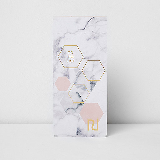 Grey marble print magnetic to do list notepad