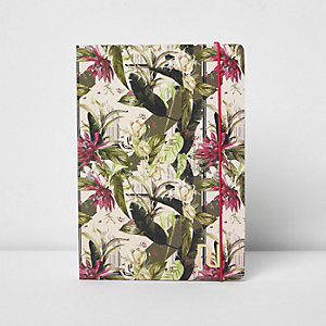 Pink A5 palm leaf floral print notebook