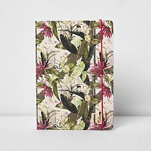 Cahier A5 à imprimé fleurs et palmier rose