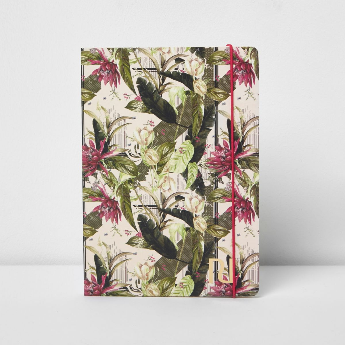 Pink A5 palm leaf floral print notebook