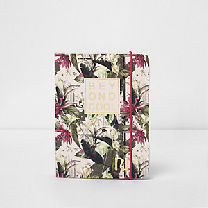 Pink A6 palm print 'beyond cool' notebook