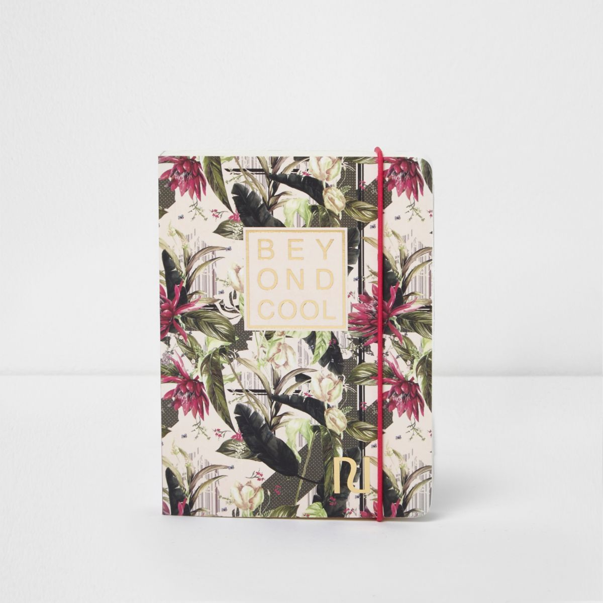 Pink A6 palm print 'beyond cool' notebook