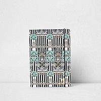 Blauw  A5 gestreept notitieboekje met kettingprint
