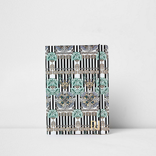 Blue A5 stripe chain print notebook