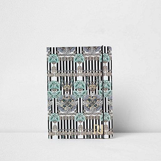 Blue A5 stripe chain print notebook