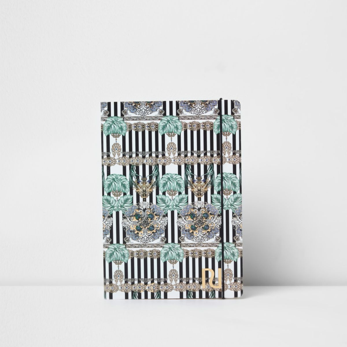 Cahier A5 imprimé chaîne rayé bleu
