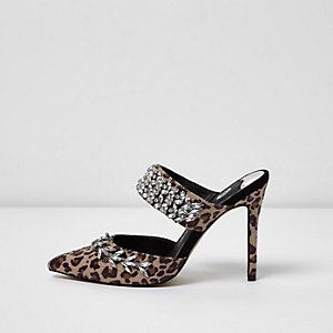 Brown leopard print diamante court heel mules