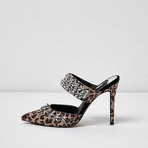Brown leopard print rhinestone court heel mules