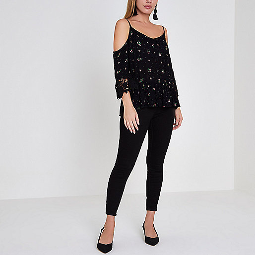 Petite black ditsy cold shoulder top