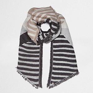 Grey block stripe jacquard scarf