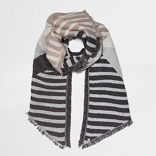 Grey block stripe jacquard scarf