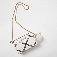 White panel metallic cross body chain bag