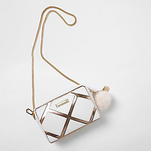 White panel metallic cross body chain bag