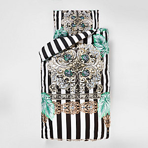 Black baroque stripe print single duvet set