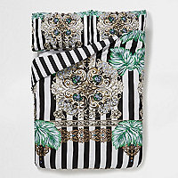 Black baroque stripe print double duvet set