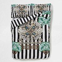 Black scarf print king size duvet set
