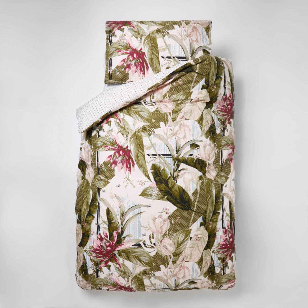 rosa bettw sche set mit palmenprint single accessoires. Black Bedroom Furniture Sets. Home Design Ideas