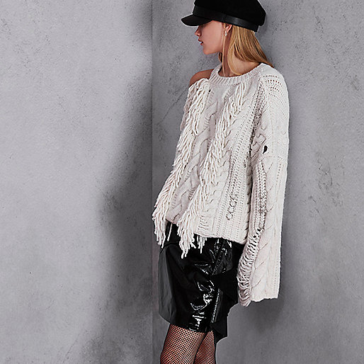 Cream RI Studio cable knit fringe jumper