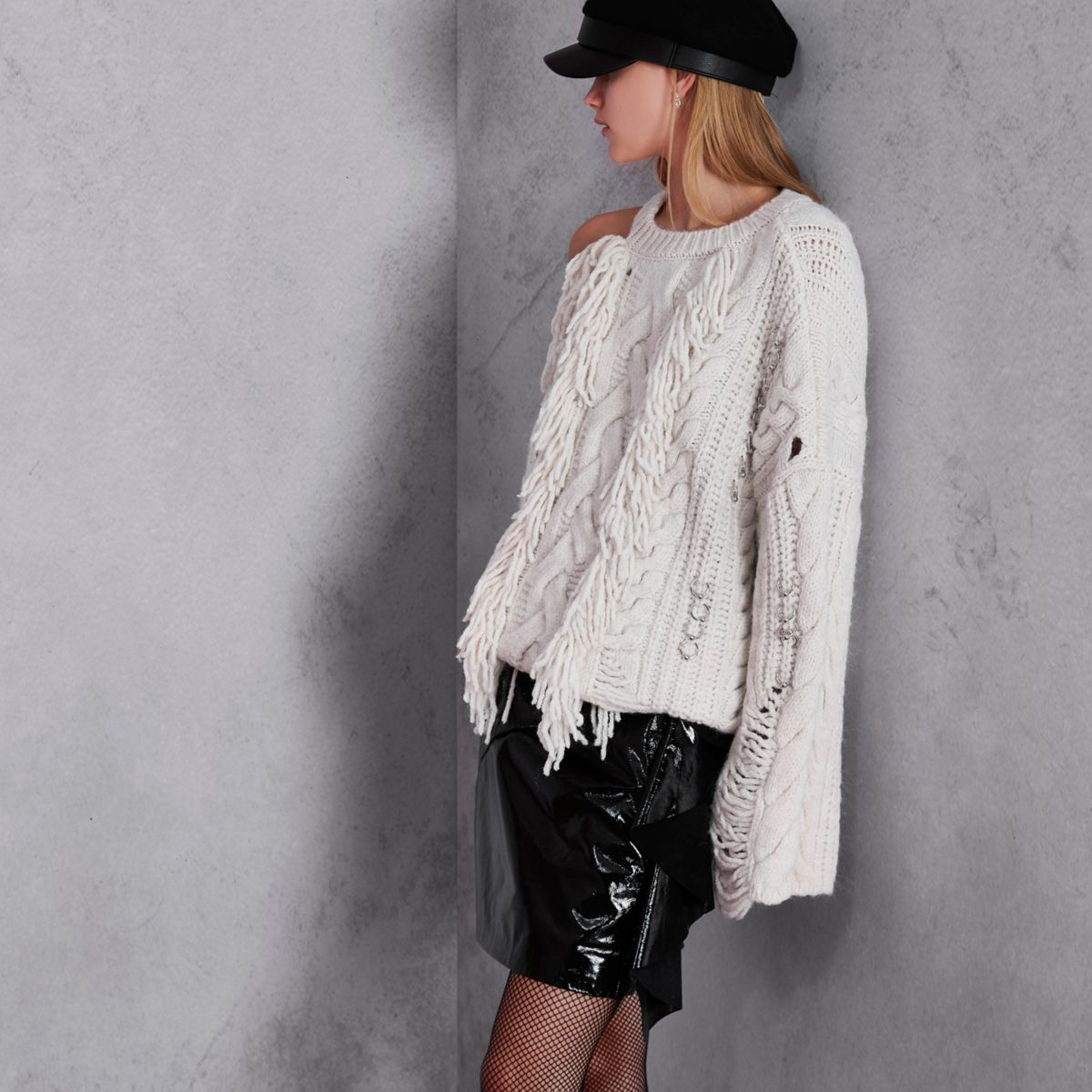 Cream RI Studio cable knit fringe sweater