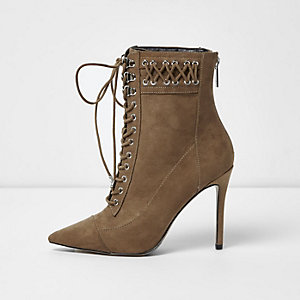 Beige pointed lace-up heeled boots