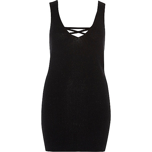 Black lace-up back side spit knitted tank