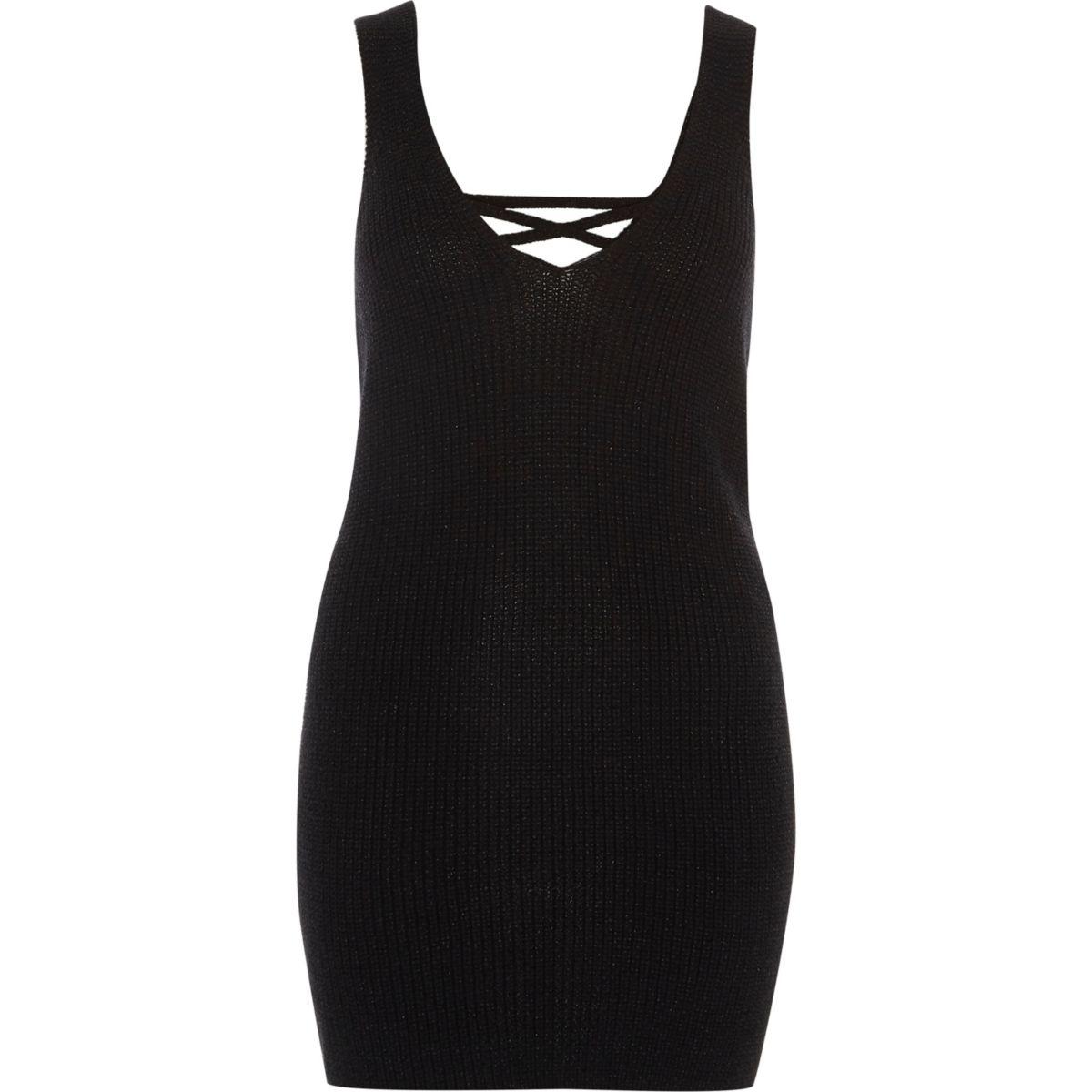 Black lace-up back side spit knitted tank