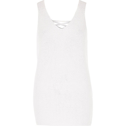 White lace up back side spilt knitted tank
