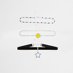 Multicolored star smiley face choker set