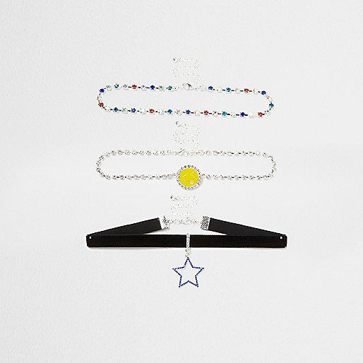 Multicoloured star smiley face choker set