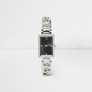 Silver tone curb chain rectangle watch
