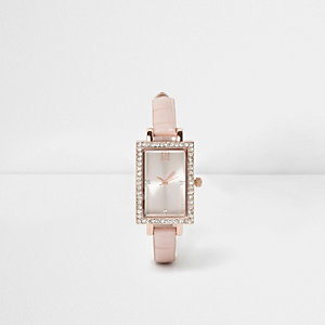 Light pink croc rectangle rhinestone watch