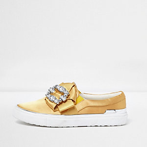 Yellow satin rhinestone embellished plimsolls