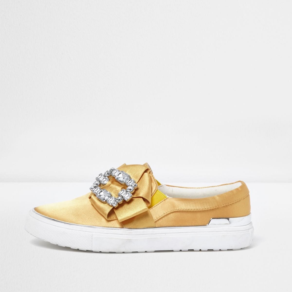 Yellow satin diamante embellished plimsolls
