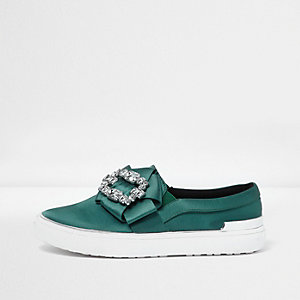 Green satin diamante embellished plimsolls