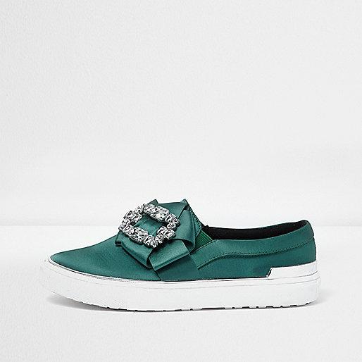 Green satin diamante embellished plimsolls