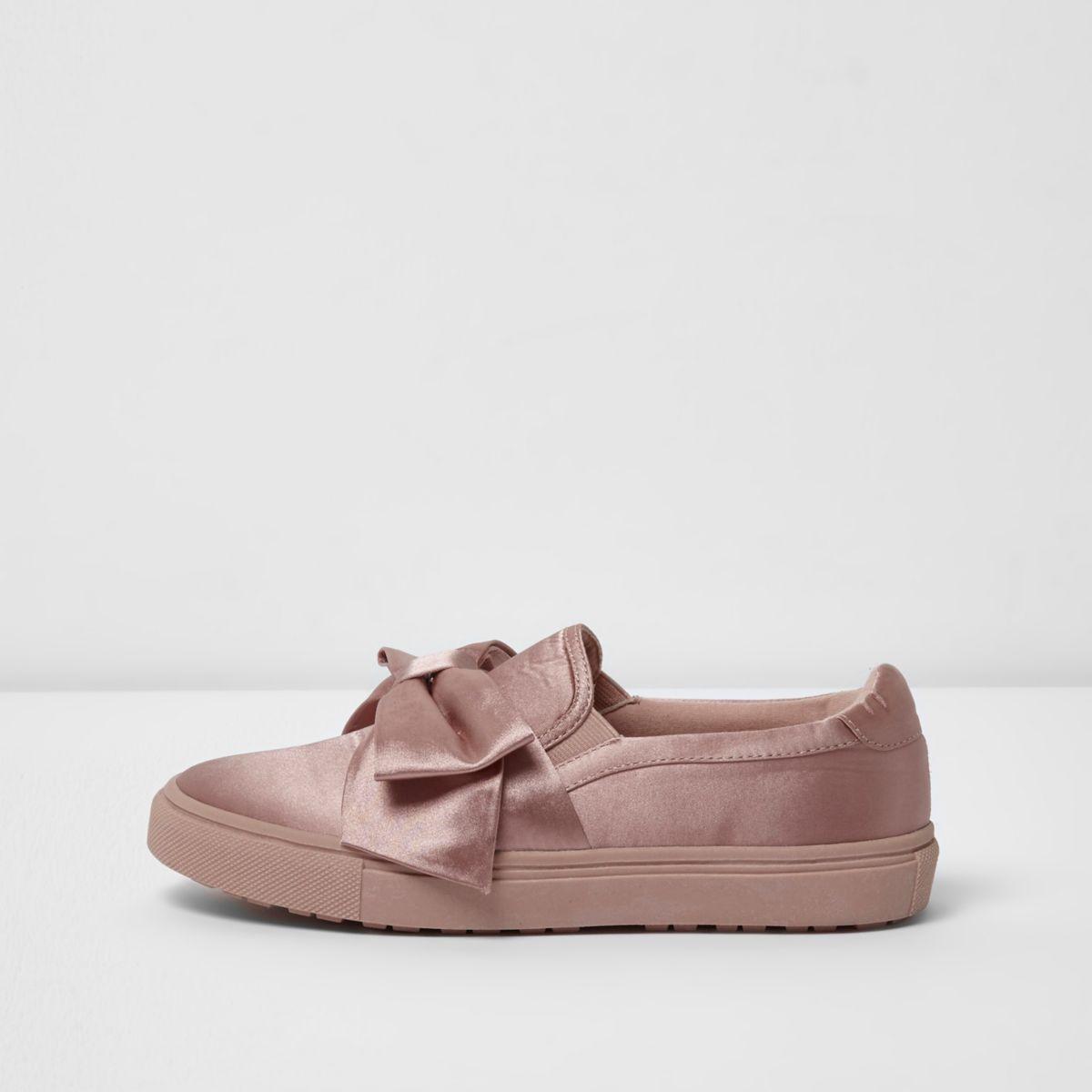 Pink bow top satin slip on plimsolls