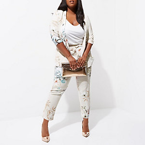 Plus grey floral tapered trousers