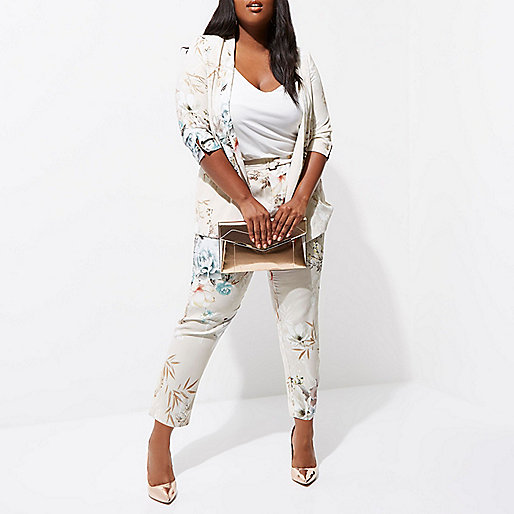 Plus grey floral tapered pants