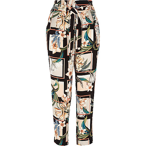 Green floral print tie waist tapered trousers