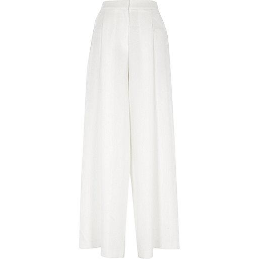 White high waisted wide leg pants