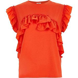 Oranges T-Shirt mit Rüschen