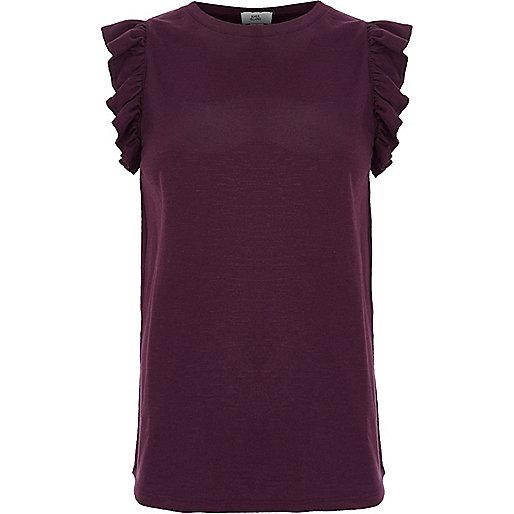 Dark purple frill sleeve tank top