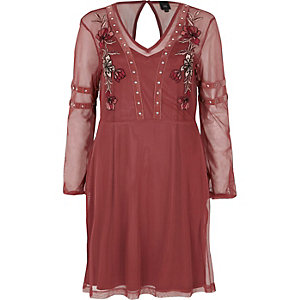 Dark pink mesh studded skater dress