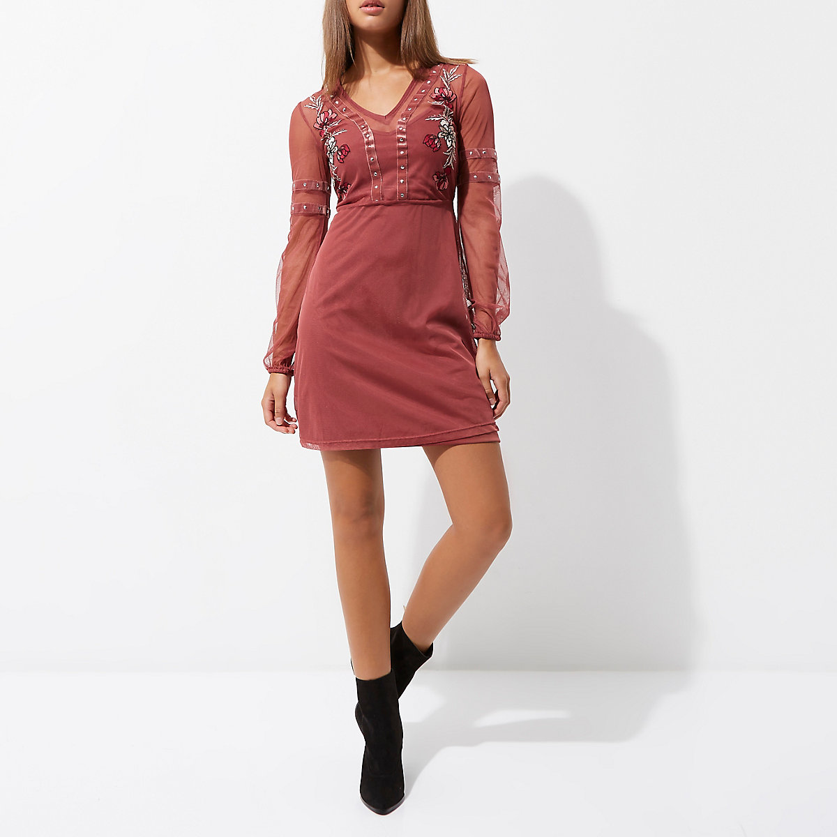 7ff153aa2b Dark pink mesh studded skater dress - Swing Dresses - Dresses - women