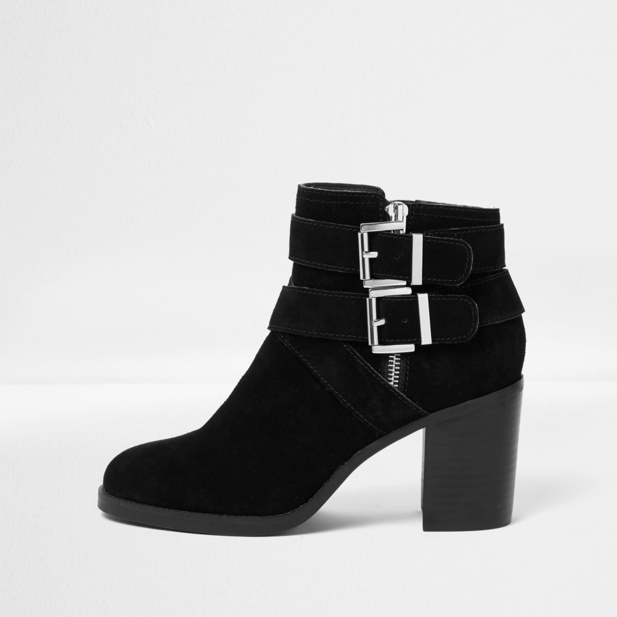 Black suede triple buckle block heel boots