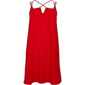 Red cross strap slip dress