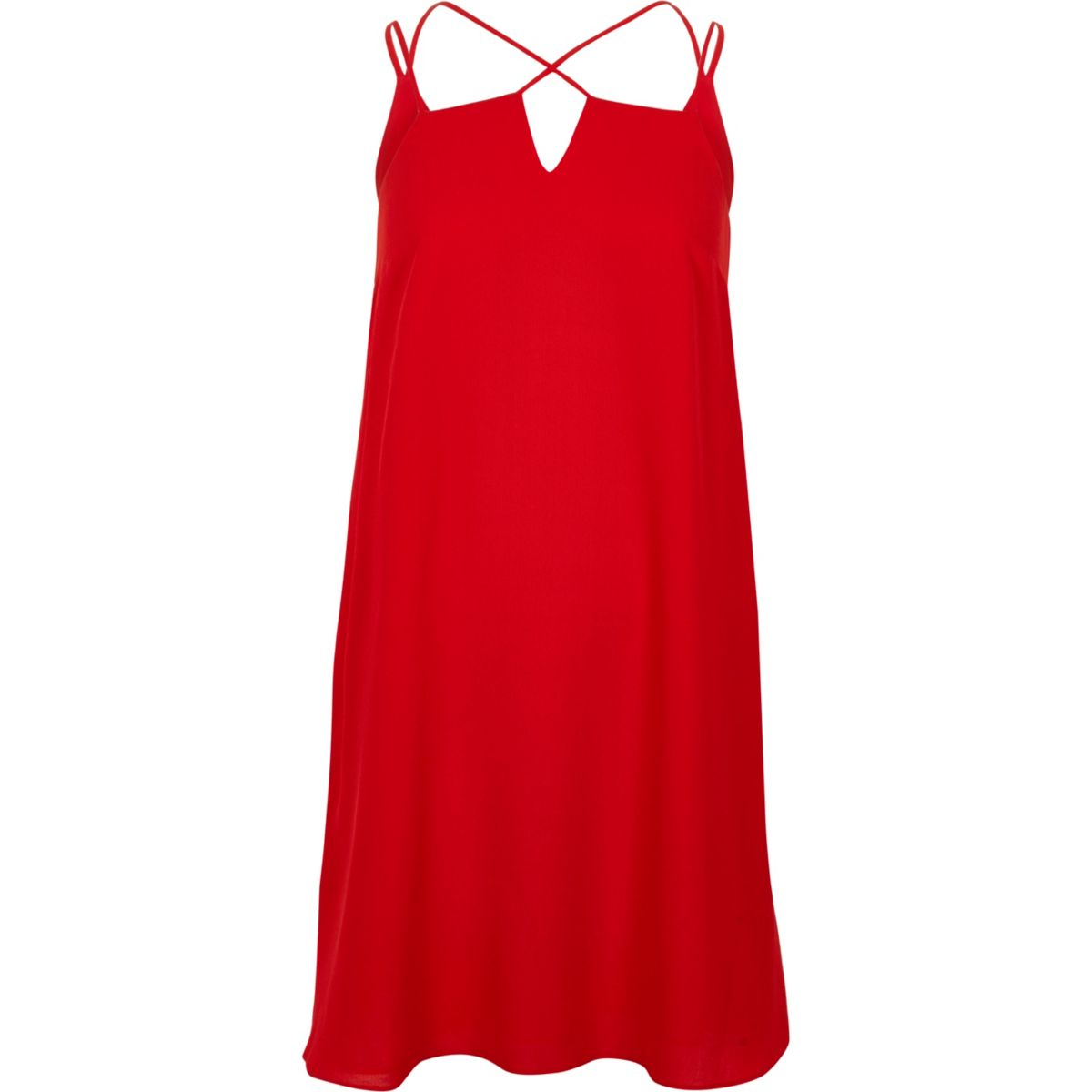 Red cross strap slip dress