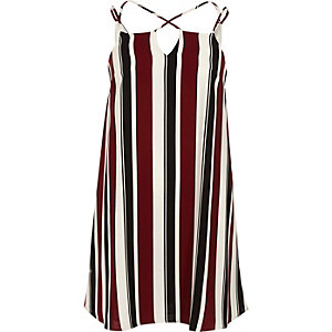 Red stripe cross strap slip dress