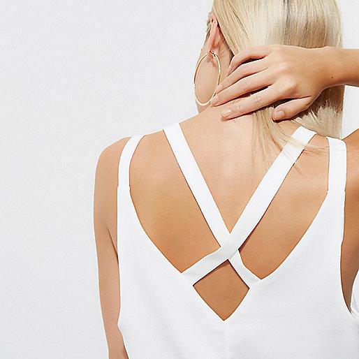 Petite white back double strap cami top